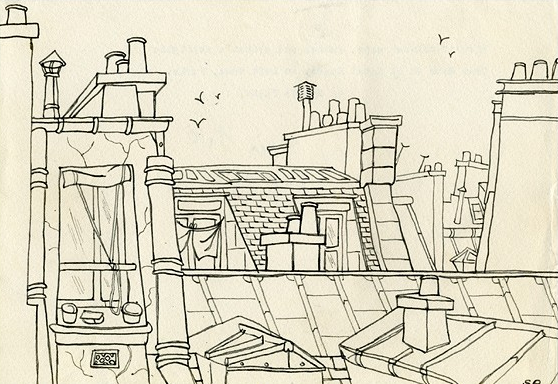 13-View-of-chimney-pots-gables-and-artist's-skylights-from-Room-26-of-Hotel-Bearn-on-Left-Bank-Paris.-